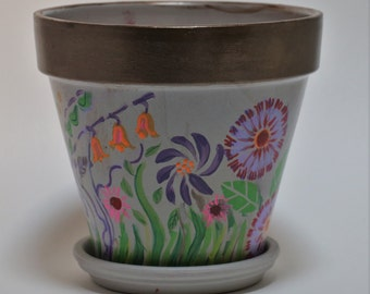 Dancing flower garden! Hand painted flower pot - Gold rim with whimsical flowers on a taupe background
