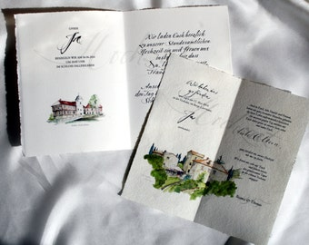 Wedding invitation on laid paper with watercolour of your Laocation and original calligraphy