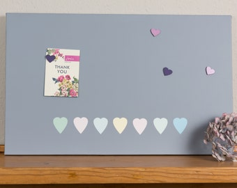 Grey Pastel Hearts Magnetic Notice Board