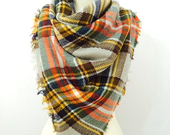 Plaid Blanket Scarf, Fall Scarf, Winter Scarf, Holiday Gift, Christmas Gift, Gifts For Her, Scarves, Oversized Scarf, Tartan Scarf, Plaid