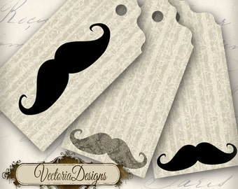 Mustache Tags Labels instant download printable digital collage sheet - VD0063