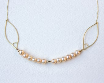 Peach-Pink Freshwater Pearl Necklace