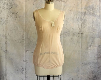 sheer nude lingerie bodysuit by American Maid, NWT . vintage body shaper one piece, womens size small