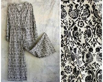 large xl vintage Markasia jumper . palazzo pant jumpsuit, 1960s 70s cotton boho jumper in folk art bird print, womens romper, wide leg pants