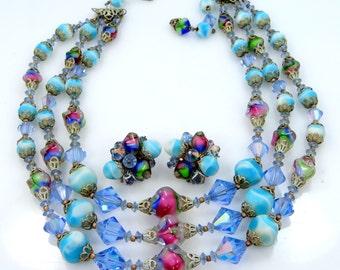 Extraordinary Vendome Blue Art Glass Necklace & Earrings