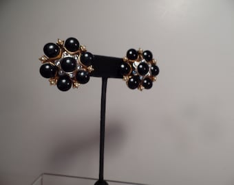 1950's Earrings with Black Cabochon Stones Signed HAR