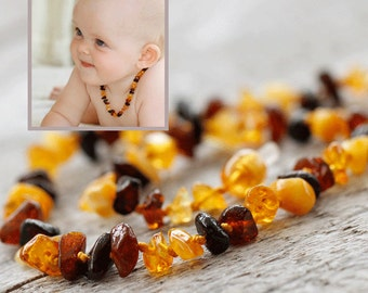 Baby Girl Amber Necklace | Baltic Amber Teething Necklace for Girl | Baby Girl Gift | Amber Teething Beads