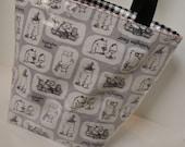 Grey Paddington Bear Fabric Reusable Lunch Bag, Lunch Sack, Reusable Bag, Boat Bag, Picnic Bag