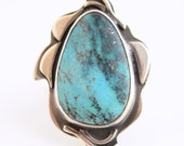 Nacozari Turquoise - Sterling Botanical Ring - US Size 8 - Silversmith - Rachel M Post
