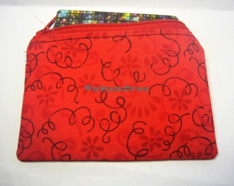 Red Flora women wallet, portefeuille, id credit card case, coin purse, id1370598, portemonnaie, business, small zipper pouch