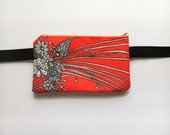 Bright Orange Psychedelic Vintage Fabric- Fanny Pack/ Bike Bag/Hip Bag// Hip Belt/ Utility Belt