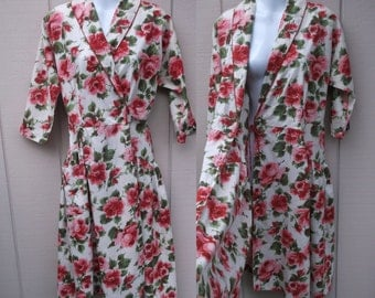 Vintage 50s Pink Floral Wrap Dress by Peggy Princess / Kitchen Formal Housedress Rockabilly Western swing frock // Sz Med - Lge