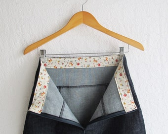Women's A Line Denim Skirt | Dark Blue Stretch Denim Skirt with Pockets | Womens Medium Size Skirt 8 10 12