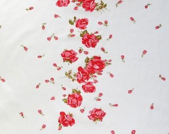 Vintage Sheet Floral Print Fabric | Fat Quarter Reclaimed Sheets | Rose Print Vintage Sheets