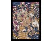 Praying Angel & Cat #100 Fantasy Art Print-Choose Your Size-Cat Rainbow Angel Wings Colorful Animals Memorial In Memory Orange White Calico