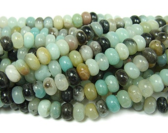 Amazonite Smooth Rondelle Gemstone Beads