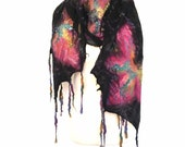 Nuno Felted  Scarf in Merino wool purple, lilac and violet colors