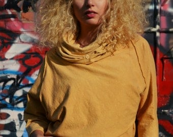 Cowled Criss Cross top in organic hemp jersey. Made to order.