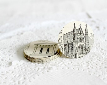 Illustrated Stickers, Envelope Seals, Vintage Building Images, Architectural Design Stickers