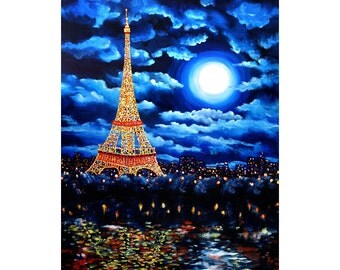 Midnight In Paris Decor Blue Moon Surreal Impressionist French Night Lit Up Cityscape Eiffel Tower Decor Wall Art Giclee Canvas Print