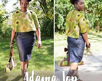 Adama Quarter sleeve Wax Print Cropped Top