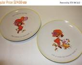 HALF OFF Mopsie plates, 1973 vintage Mopsie plates, wall plates, yellow orange Mopsie plates, Girl plates, decor plates
