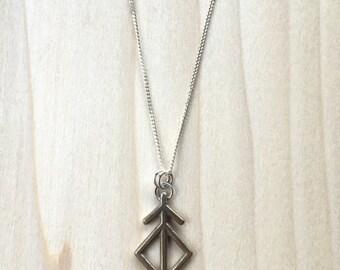Pod brass cast pendant necklace on sterling