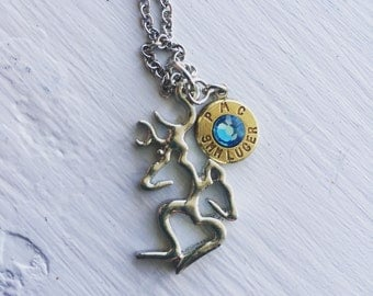 Buck and Doe with Heart Pendant Necklace  with 9mm, Bullet Jewelry, Bullet Necklace, Buck and Doe