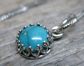 Nephelae necklace ... MADE TO ORDER antiqued silver gallery bezel / sterling silver / sleeping beauty turquoise