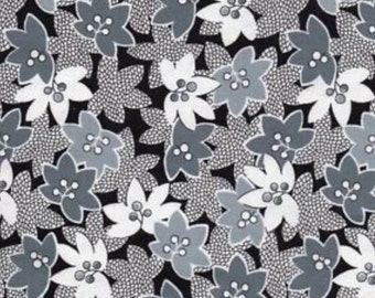 Charcoal Tropical Leaf - Mimosa - Another Point of View - Windham cotton quilt fabric - fat quarter