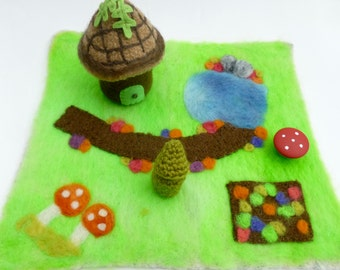Play mat set with Mini Felted Acorn Gnome Cottage house ready to ship