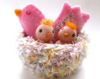 Bird with baby chicks in nest nature table waldorf inspired woodland wool felt