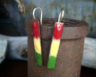 Rasta Bar Earrings - Copper + Enamel