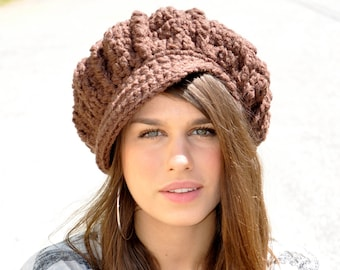 Custom Newsboy Hat - Made to Order - Women's Crochet Hat - You Choose Color
