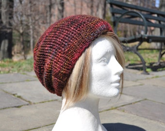 Wool Knit Slouchy Hat - Multi-Colored Brown Knit Hat - Unisex Hat in Baby Alpaca - Gift Idea for Man or Woman
