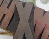Antique Letterpress Wood Type Printers Block Letter X