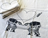 Kitchen Towel: AT-AT Love, Dischcloths, Flour Sack Towel, Dish Towel, Kitchen Gift, Funny Star Wars Gift