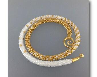 "DarleenMB, SRA, beaded kumihimo rope necklace, ""Elegance"""