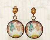 Dutch Bunny Rabbit Earrings Mini Dutchie Duo - Bunny Jewelry - Dutch Rabbit Earrings - Bunny Rabbit Inspired