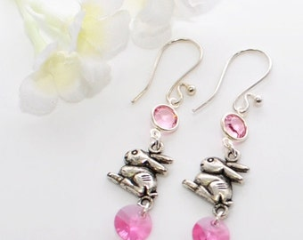 Silver Rabbit Earrings Boop and Bop  - Pink Bunny Earrings - Bunny Rabbit Jewelry