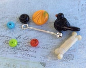 Lampwork Changeable Bead Pendant Bird Pumpkin Bone