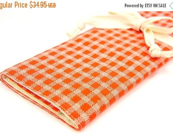 Sale 25% OFF Large Knitting Needle Case - Stitches on Tangerine - 30 ivory pockets for circular, straight, dpn, or paint brushes