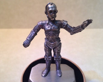 Vintage collectable Star Wars lead free pewter replica mini figurine with stand