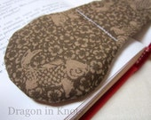 Goldfish Book Weight - Unisex Brown on Brown Fish and Floral Pattern Fabric