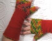 rust Fingerless Gloves . fingerless cashmere gloves .  rust fingerless cashmere gloves .  cashmere texting gloves . felted cashmere gloves