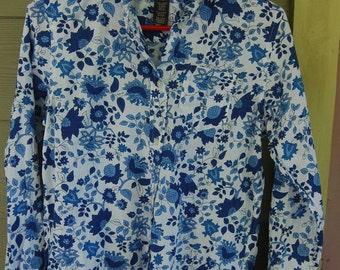Vintage 80s Romantic Floral Ralph Lauren Print Blouse Shirt Top Size Petite Small