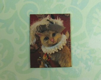 Dollhouse Miniature Puss In Boots Portrait Wall Plaque