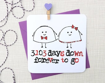 personalised days down forever to go anniversary, birthday card, husband card, wife card, love card, valentines day card