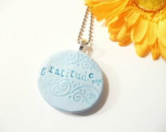 Word Gratitude Pendant, Optional Necklace, Light Blue Jewelry, Faith, Inspiration Jewelry Dragonfly Jewelry, handmade polymer clay