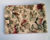 Cream Floral Zipper Pouch, Cotton Canvas, Linen Pouch, Purse Organizer, Makeup Bag, Travel Case, Cord Cozy, Clutch Bag, Floral Lining